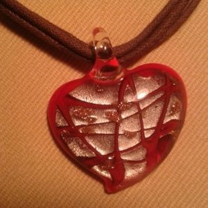 Red glass heart charm on multi layer leather neckl